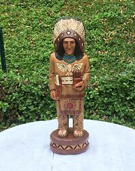 John Gallagher Carved Wooden Cigar Store Indian 5 Ft. Thunderbird Knife Statue