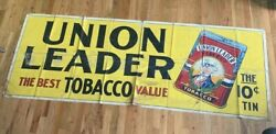 Union Leader Original Vintage Tobacco Banner Giant Sign Rare Tin Ad Adver