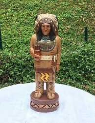 John Gallagher Carved Wooden Cigar Store Indian 5 Ft. Buffalo