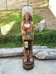 John Gallagher Carved Wooden Cigar Store Indian 5 Ft.tall Very Detailed Buffalo