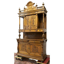 Antique Sideboard, Monumental French Walnut Carved Woos, 1800s, Stunning