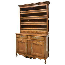 Antique Display Cupboard, Vaisselier, French Louis Xv Style Fruitwood, 1800's