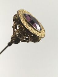Antique Hat Pin W/ Amethyst Colored Glass 1 Ornate Metalwork 9 Long Vintage