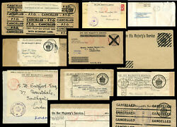 Gb War Economy + Re-use Labels Postally Used Envelopes Ohms Etc …each Priced