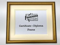 Diploma Certificate Frame - Double Mat - Gold/beaded Edge - Solid Wood