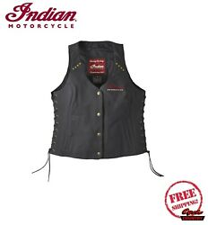 GENUINE INDIAN MOTORCYCLE WOMEN#x27;S CLASSIC BLACK LEATHER VEST SCOUT CHIEF NEW $149.99