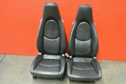 Porsche 911 997 Turbo Black Leather Crested Red Stitched Factory Seats Pair