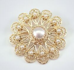 Vintage Antique 14K Yellow Gold Pearl Circle Cluster Brooch Pin Pendant 1970's