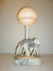 Large Rare Art Deco Alabaster Figural Lamp With Two Birds Glass Eyes Circa 1930s