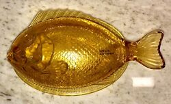 Vintage Amber Color Fish Dish Covered Candy Bowl Fostoria Glass Trinket 9 Mint