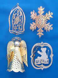 4 Gold Christmas Ornaments Reticulated Angel Anre Bear Partridge And Snowflake