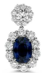 EXTRA LARGE 13.73CT DIAMOND & AAA SAPPHIRE 18KT WHITE GOLD OVAL HANGING EARRINGS