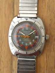 Rare Vintage Donar Antichoc Divers Waterproof 1960and039s/70and039s Hand Winding Watch 17j