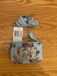 Vera Bradley Iconic Zip Id Case And Lanyard Water Bouquet Nwt