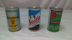 Set Of 3 Vintage Frostie Root Beer Soda Can Tennent's Lager And 7up Alabama Soda