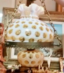 Fenton Gwtw Coin Dot Honeysuckle Opalescent Library Hanging Lamp Chandelier Obo