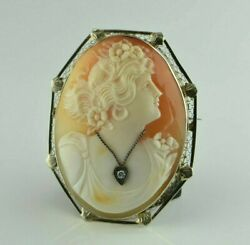 Excellent 14k White Gold Cameo Shell Pin Brooch Or Pendant