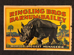 """Vintage 1946 Ringling Bros And Barnum And Bailey Circus Rino Poster 28"""" X 42"""""""