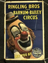 """Vintage 1944 Ringling Bros And Barnum And Bailey Circus Clown Poster 42"""" X 28"""""""