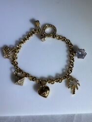Rare Juicy Couture Blinged Out Charm Bracelet W 5 Charms And Awesome Closure