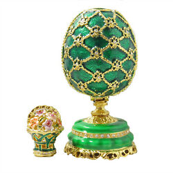 Green Faberge Antique Vintage Collectible Egg With Mini Floral Basket Gift Box