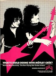 1984 Vintage 8x11 Print Ad For What's Guild Doing With Motley Crue Guitars