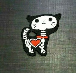X RAY CAT SKULL SKELETON BIKER HEART Embroidered Iron Sew On Patch Logo Badge $2.92