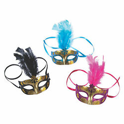 Gold Feathered Masquerade Masks Apparel Accessories 12 Pieces