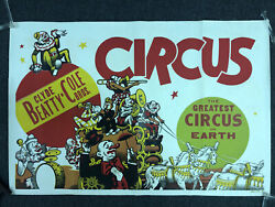 """Vintage Clyde Beatty-cole Bros Circus Clown Band Poster 28"""" X 42"""""""