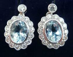 Gorgeous Art Deco 18ct White Gold Aquamarine And Diamond Cluster Drop Earrings