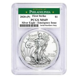 2020 P 1 oz Silver Eagle PCGS MS 69 FS Philadelphia Emergency Issue