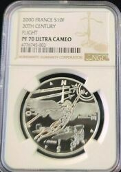 2000 France Silver 10 Francs 20th Century Flight Ngc Pf 70 Ultra Cameo Perfect