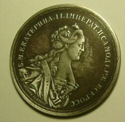 Rare Medal Ekaterina Ii Sterling Silver Imperial Russia 1763