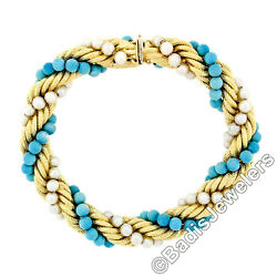 Vintage 18k Gold Intertwined Braided Rope Chain Bracelet Turquoise And Pearl Beads
