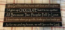 5 Christian Home Decorative Signs With Phrases Made of Wood