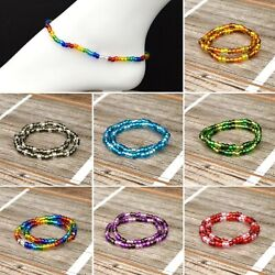 Glass Bead Stretch Ankle Bracelet Silver Foil Beads Rainbow Collection