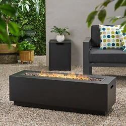 Wellington Outdoor Rectangular Firepit With Lava Rocks By Christopher Knight Hom