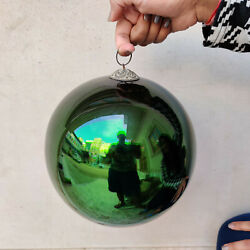 Antique Kugel Heavy 8.5 Olive Green Round Christmas Ornament Germany Extra Rare