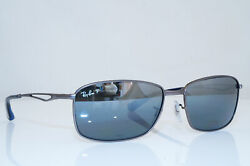 RAY-BAN Mens Polarized Mirror Sunglasses Silver Rectangle RB 3501 02982 26324