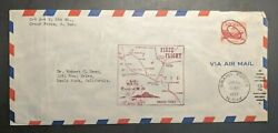 1952 Grand Forks North Dakota First Flight Airmail Cover To Menlo Park Ca