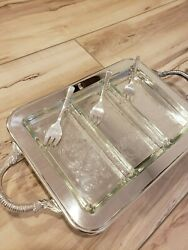 S And W Blackinton Company Footed Embossed Silver Tray Setandnbsp Glass Dishes And Forks