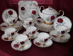 Royal Stafford Roses To Remember Teapot Coffee, Dinner Plates And More 34 Pieces