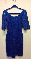 1950s Gene Shelly Royal Blue Sequinned Knitted Wiggle Dress Uk 10-12