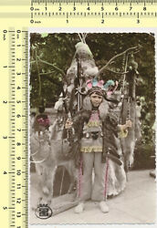 058 1970's Boy As Native American Indian Costume Color Tinted Colored Old Photo