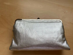HOBO Women#x27;s Silver Vintage Leather Leanne Double Frame Crossbody Bag Wallet $100.00