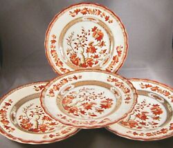 Copeland Spode India Tree Rust Bread And Butter Plates 4 Red Trim 2/959