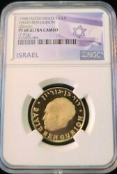 1948 Israel Gold Medal David Ben Gurian Ngc Pf 68 Ultra Cameo Finest Known
