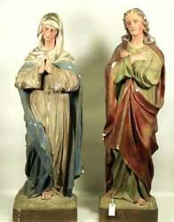 Antique Statues, Mary And Joseph, Near Life Size, Painted Plaster, 1800's