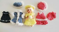 Vtg Mattel Kelly Doll 4 Handmade Knitted Dresses Hat Knit Shoes One Of A Kind