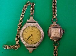 Vintage Elgin 14k Rolled Gold Filled And Acme Vintage Wrist Watches 2 Nonworking